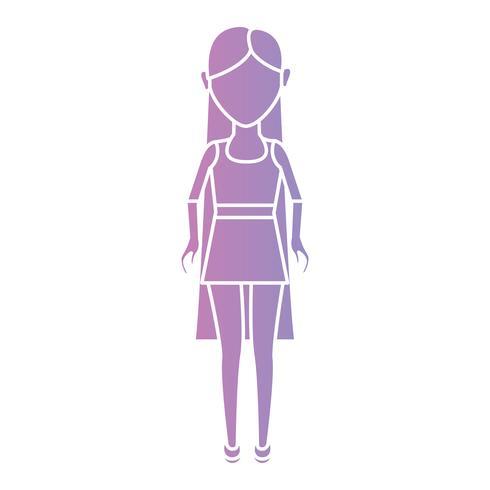 silhouet vrouw met kapsel en kleding ontwerp