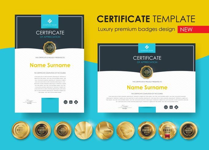 Plantilla de certificado con patrón moderno, diploma, ilustración vectorial y vectores Diseño de insignias de lujo premium, Conjunto de insignias y etiquetas retro vintage.