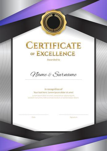 Porträtluxuszertifikatschablone mit elegantem Grenzrahmen, Diplomdesign für Staffelung oder Abschluss