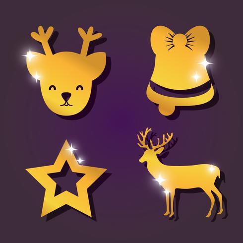 set merry christmas decoration design