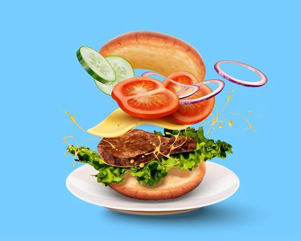 Hambúrguer em fundo azul