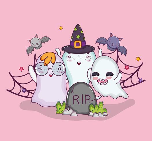Fantasmas lindos dibujos animados de halloween vector