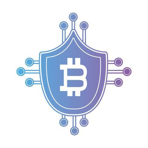 Linea de blindaje bitcoin con circuitos electronicos. vector