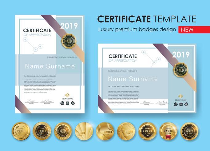 Zertifikatvorlage mit modernen Muster, Diplom, Vektor-Illustration und Vektor Luxus Premium Abzeichen Design, Set Retro Vintage Abzeichen und Etiketten.