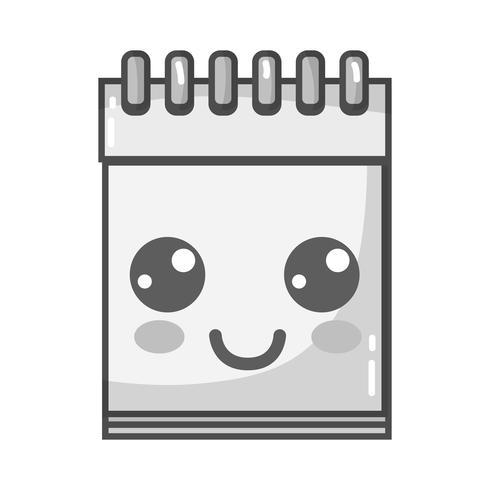 Graustufenkawaii niedliches glückliches Notizbuchwerkzeug
