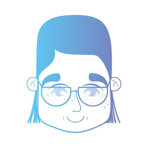 line woman head with hairstyle and glasses