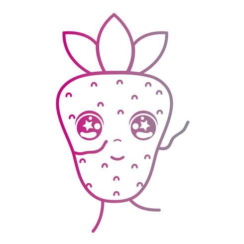 linje kawaii söt glad jordgubbe frukt