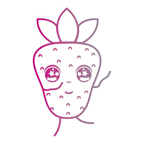 línea kawaii linda feliz fruta strwberry vector