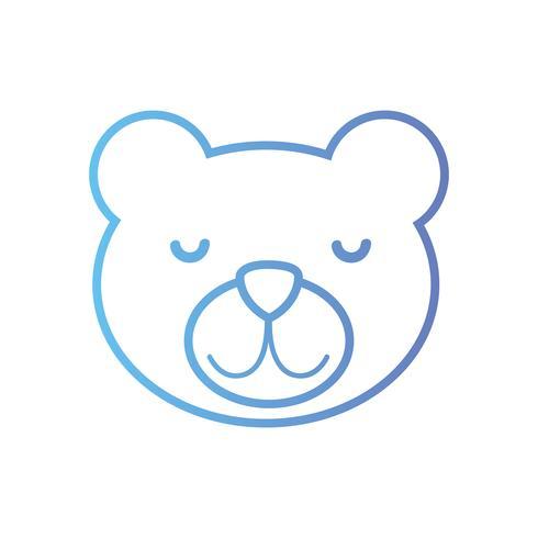 linje söt nallebjörnhuvuddesign