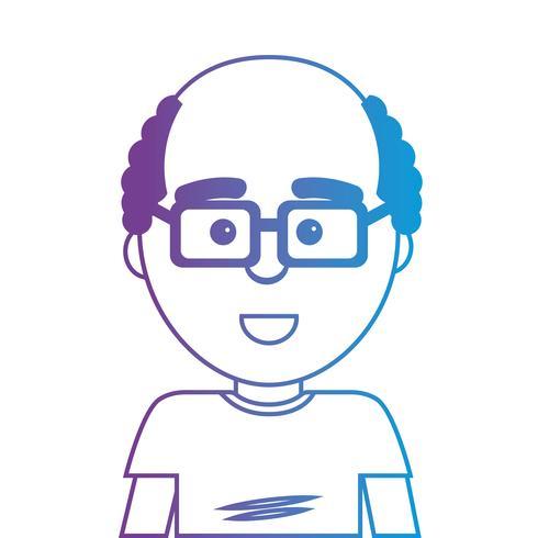 Linie Mann mit Frisur und T-Shirt Design