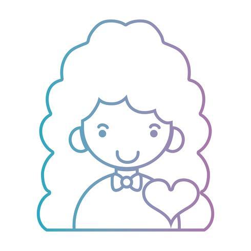 lijn meisje met kapsel en hart ontwerp