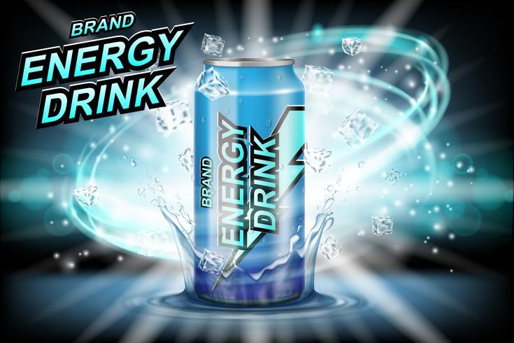 Energie drinken label advertenties met ijsblokjes op donkere achtergrond. Pakketontwerp energiedrank voor poster of banner. Realistisch aluminium kan bespotten. Vector 3d illustratie