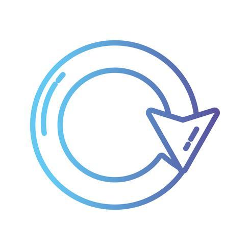 ligne flèche cercle signe chargement en cours