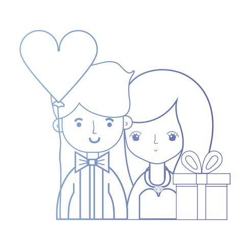 Línea de belleza pareja casada con diseño de peinado. vector