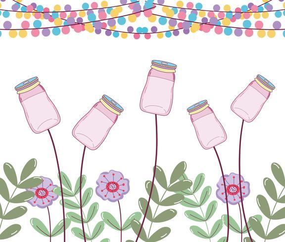 Barattoli di muratore con fiori