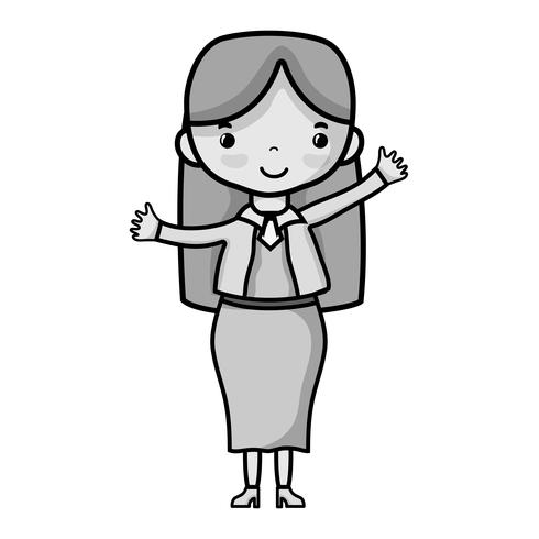Graustufenfrau mit Frisur und elegantem Kleidungsdesign