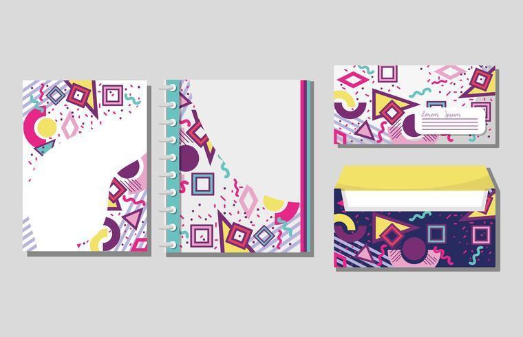 Cuadernos y sobres de Memphis imitan para arriba. vector