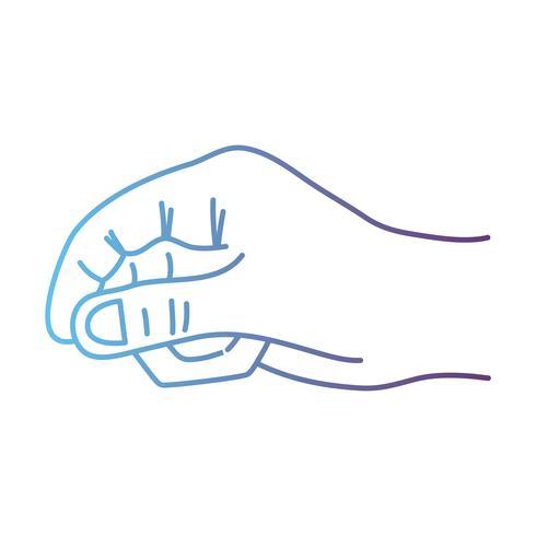 Línea persona mano con dedos y figuras. vector