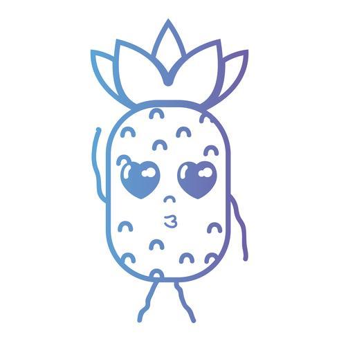 linje kawaii söt i kärlek ananas frukt