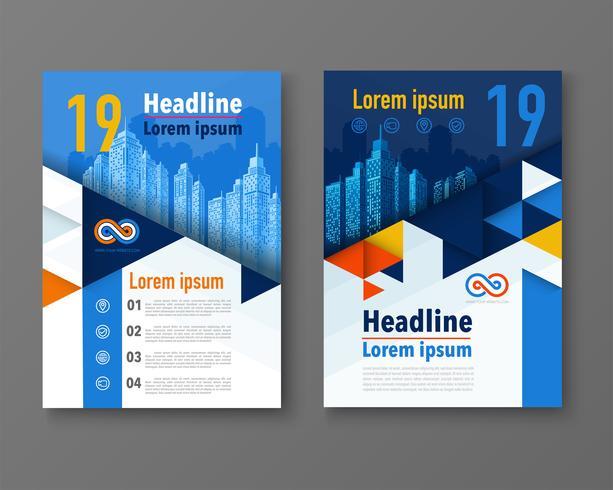 Moderne ontwerp poster flyer brochure dekking lay-out sjabloon met driehoek grafische elementen en ruimte voor foto-achtergrond. vector.