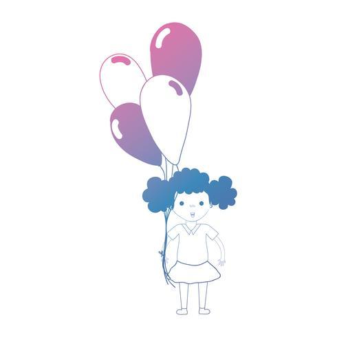 garota de linha com penteado e balões na mão