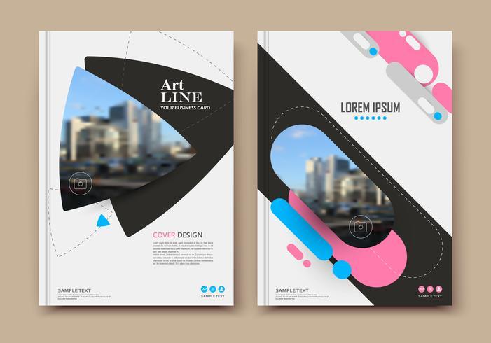 Abstract binder layout. Pink a4 brochure cover design. Fancy info text frame. Creative ad flyer font. Title sheet model set. Modern vector front page. Elegant city banner. Blue figures icon fiber