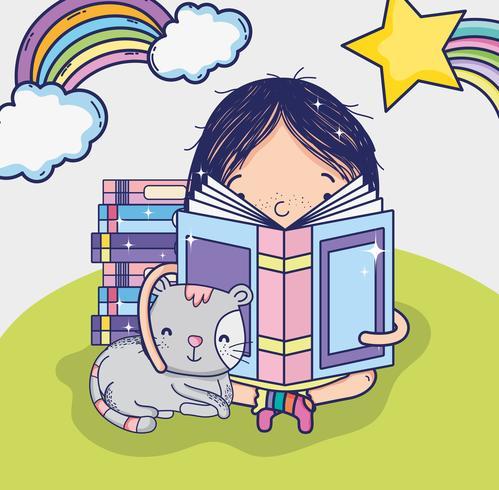 Linda chica leyendo un libro de dibujos animados