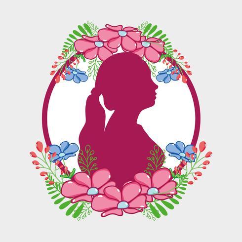 Silueta de mujer fucsia con diseño de flores y hojas