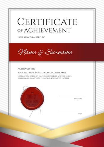 Het certificaatmalplaatje van de portretluxe met elegant gouden grenskader, Diplomaontwerp voor graduatie of voltooiing