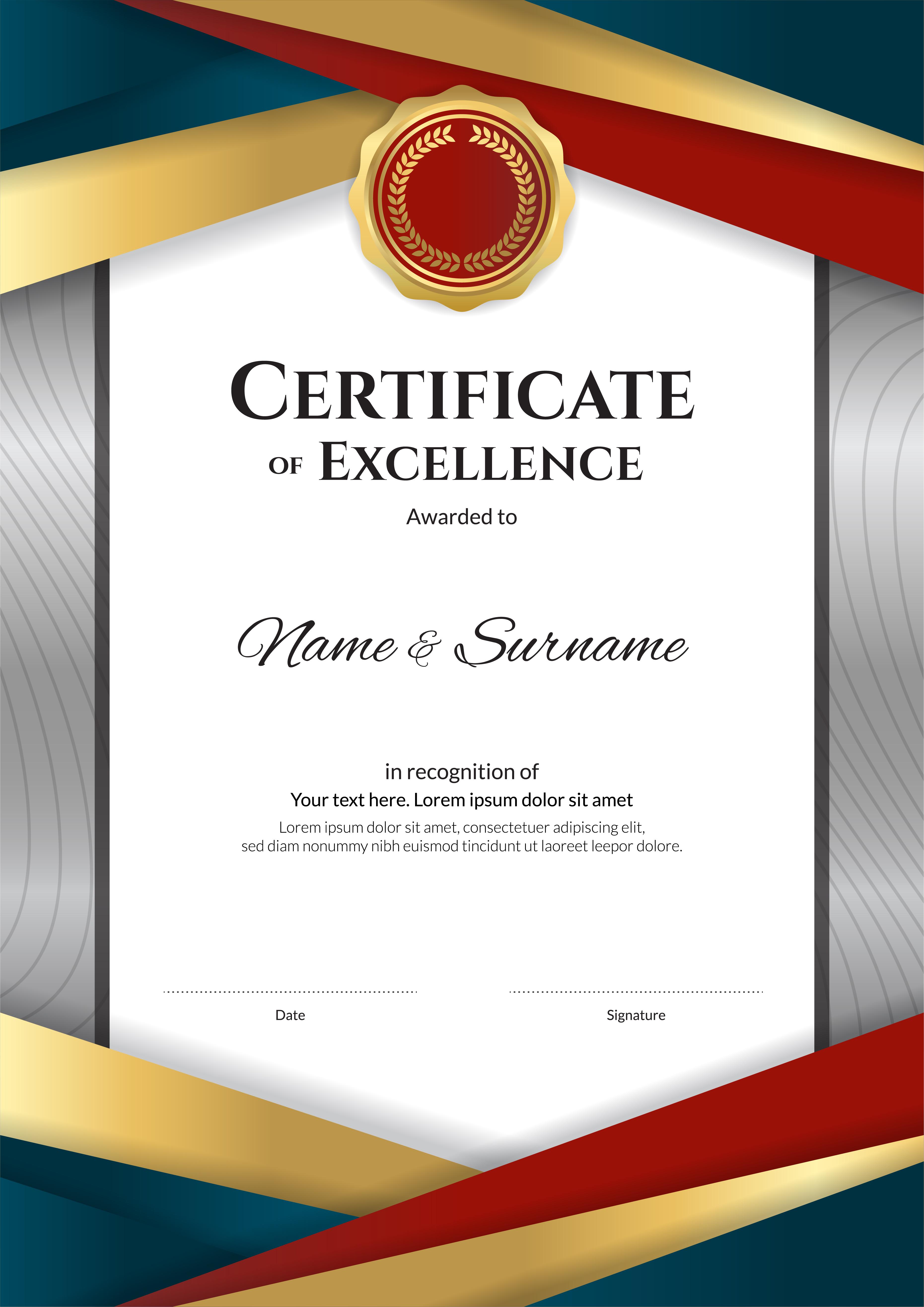 Portrait luxury certificate template with elegant border ...Red Graduation Borders