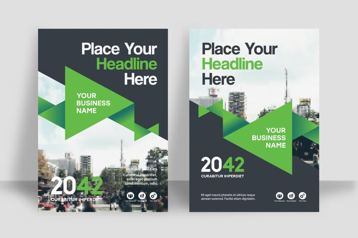 Plantilla de diseño de portada de libro de negocios de fondo de ciudad