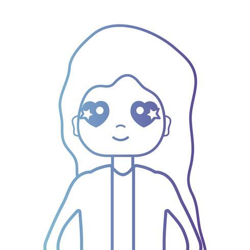 Mujer de línea con peinado y blusa.