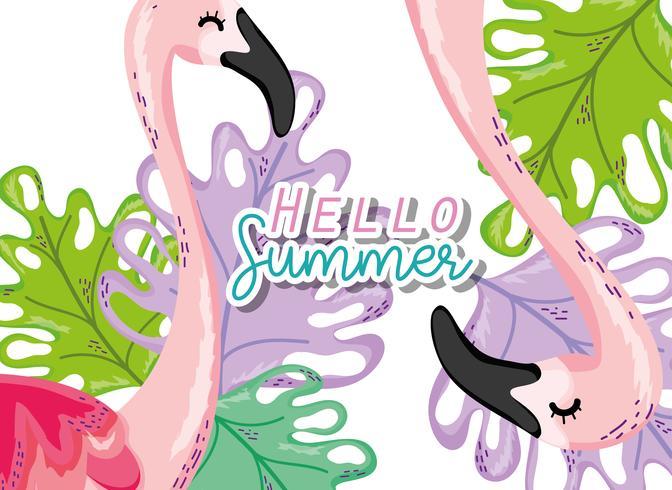 Hola tarjeta de verano vector