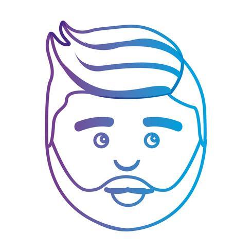 línea avatar hombre cabeza con peinado