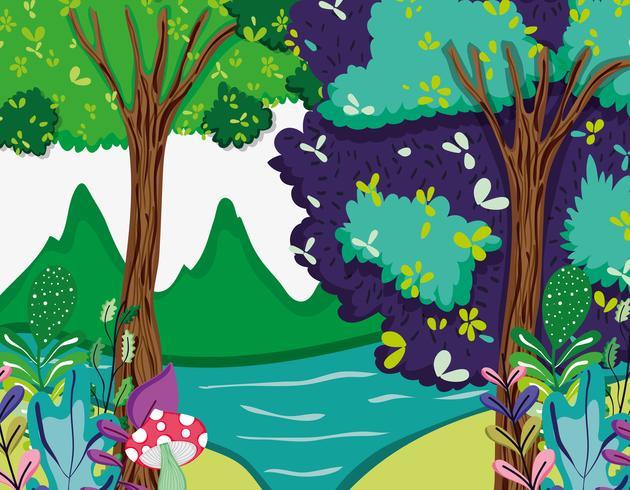 Cenário bela floresta