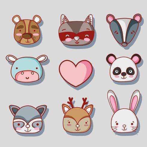 set schattige dieren patches ontwerp