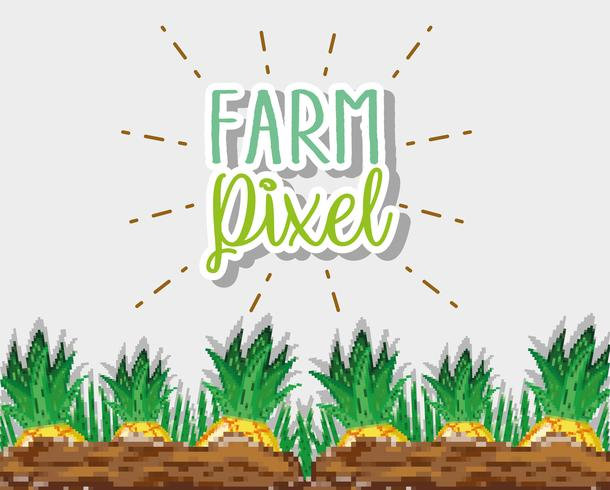 Desenhos animados de pixel de fazenda