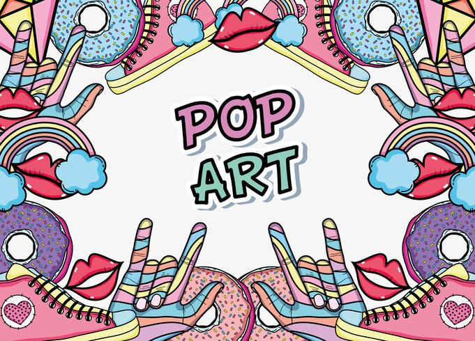 Desenhos animados de fundo de arte pop