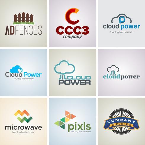 Conjunto de modelo de Design de logotipo corporativo criativo