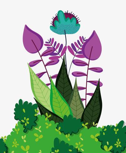 Waldblumen und Blätter