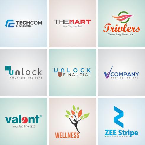 Conjunto de plantillas de diseño de logotipo corporativo creativo