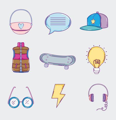 Set van jeugd cultuur iconen