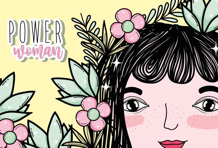Woman power girl cartoon
