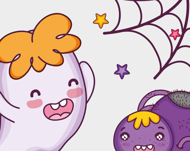 Dibujos animados de halloween fantasma lindo