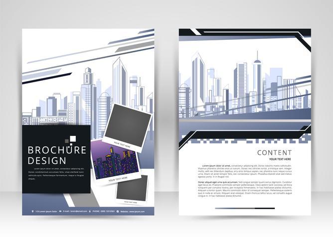 Informe anual de diseño de portadas, folletos de plantillas vectoriales, folletos, presentaciones, portadas de folletos, fondo plano abstracto, construcción, diseño en tamaño A4