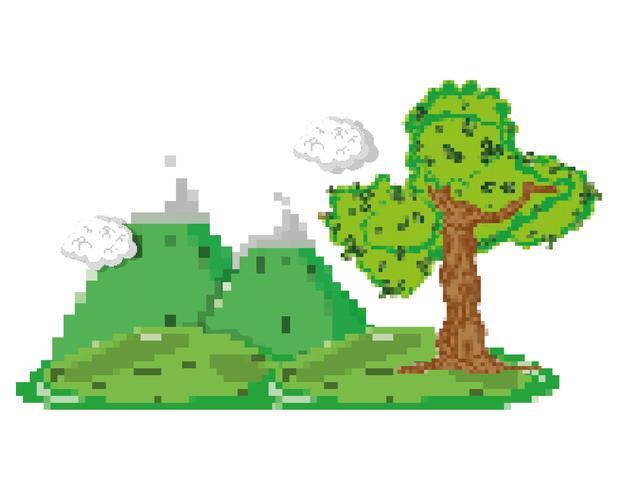 Pixelated boslandschap