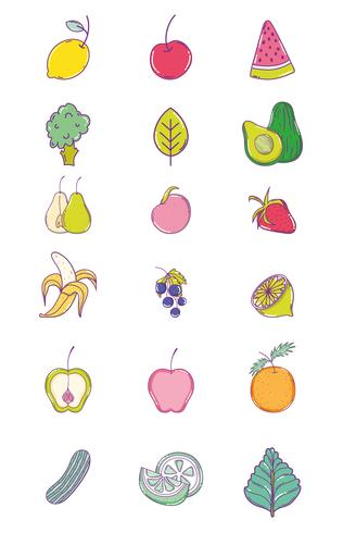 Set of fruits collection vector
