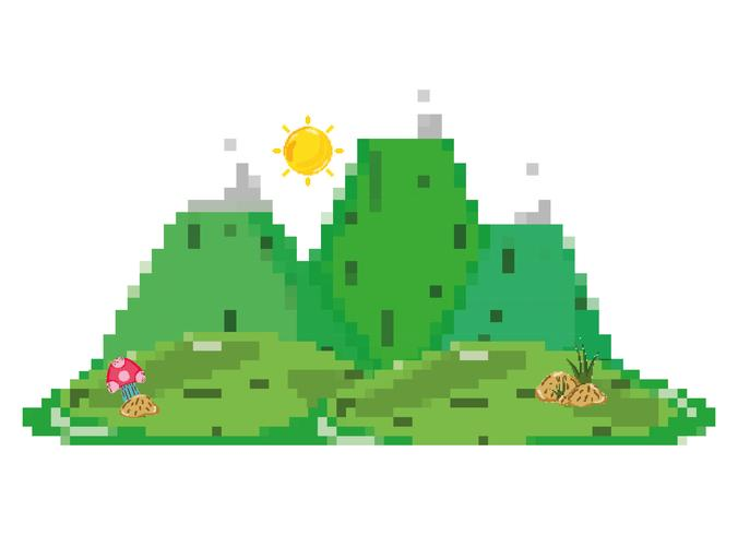 Pixelated boslandschap vector