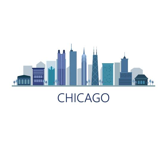 Skyline de Chicago em fundo branco vetor