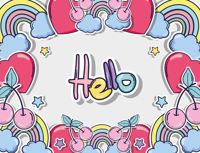 Hola tarjeta con lindos dibujos animados
